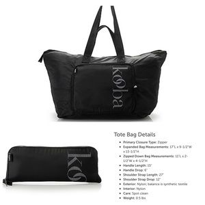 KOOBA Nylon Packable Zip Tote Bag